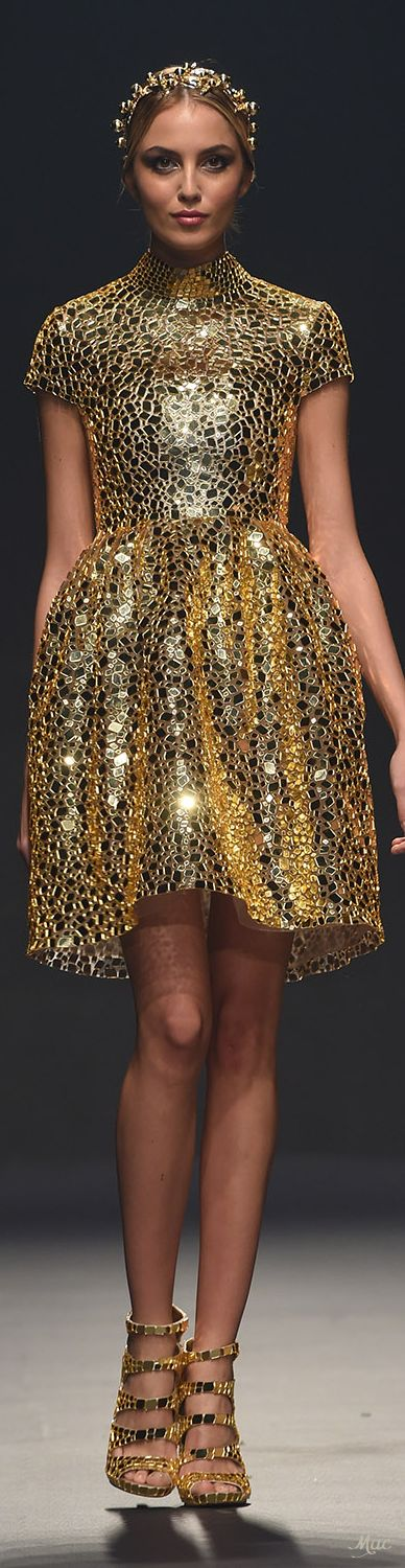 Spring style!! TREND Spring 2018 - METALLICS!! Gold mirror dress at  RTW Atelier Zuhra! This Golden Goddess Shines from her headband to her dress and her sandals!! GOLD!