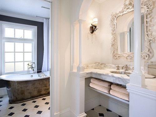 .gorgeous tub and vanity: Eclectic Design, Cool Bathroom, Beauty Bathroom, Future House, Elegant Bathroom, Bathroom Mirror, So Pretty, White Bathroom, Dream Bathroom