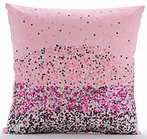 Pink throw pillows are adorable, cute and trendy. Moreover,  they are awesome in a pink home décor theme.  Pink accent pillows symbolize love, femininity and softness. Therefore, use these in both your bedroom and  living room on beds, couches and chairs.  Trendy Pink throw pillows make any room stylish, charming and beautiful.        Handmade Pink Pillow Covers, Sequins Ombre Club & Lounge Theme Pillows Cover, 16