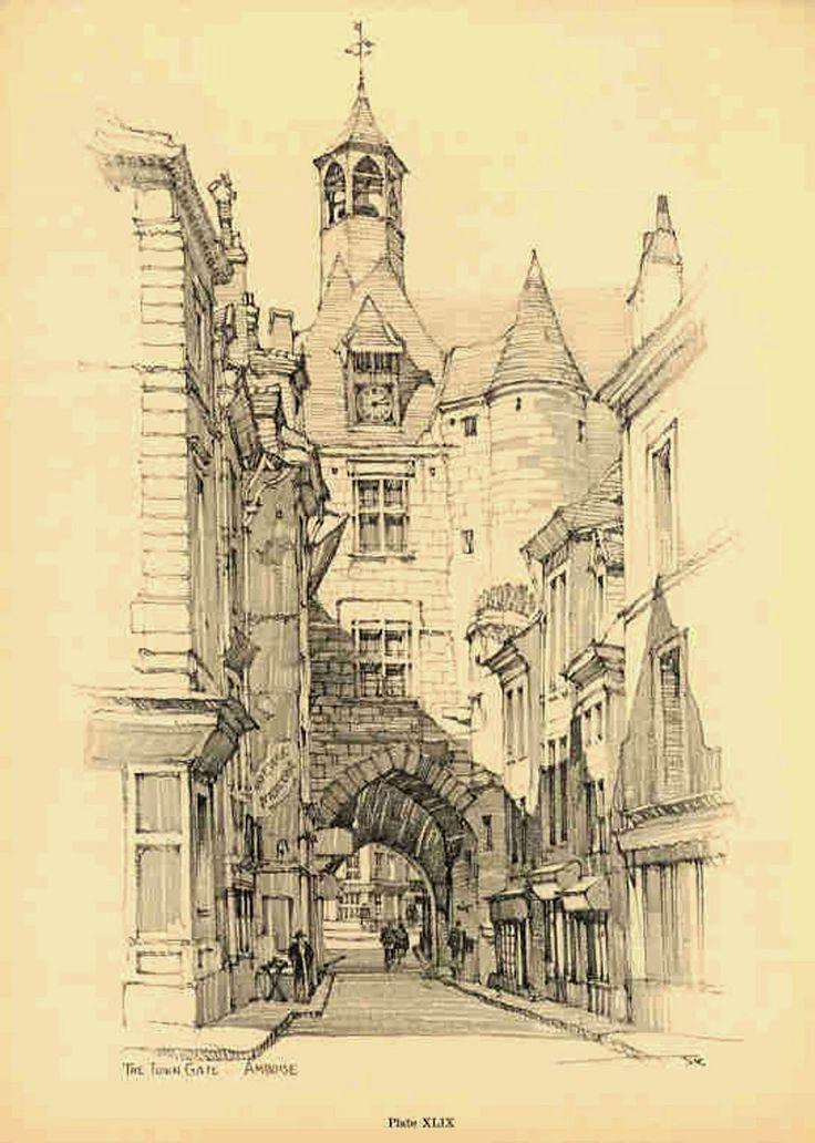 Samuel Chamberlain (1895-1975-American) - DARF - Plate 11.9 - The town gate Amboise - 1928