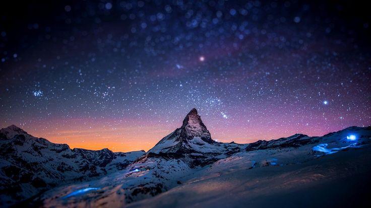 stars night space winter snow lights matterhorn tilt shift