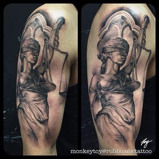 Lady of Justice #tattoo #blackandgrey by Toy, Rubixcube Tattoo Sydney. Instagram: @monkeytoy