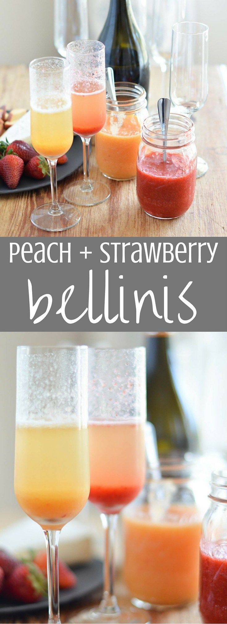 Peach and Strawberry Bellinis | Lightly sweetened purees of peach and strawberry are spooned into champagne glasses and topped with VOVETI Prosecco. These peach and strawberry bellinis are the perfect addition to any brunch or gathering! Clickthrough for the full recipe. #VOVETI #CleverGirls