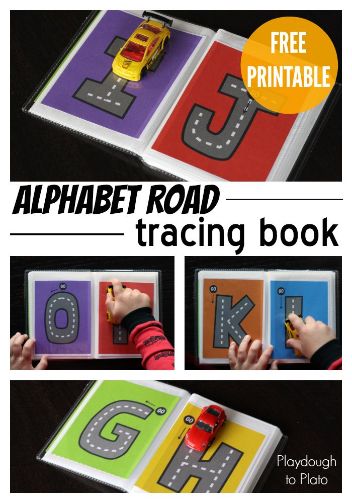 These are amazing!!  Print these alphabet roads, put in a small photo album, and you've got letter writing fun you can pop in your purse!  Just add a toy car or two. :)