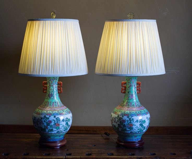 Ceramic Asian Lamps   Vase Style Lamps   Colorful Vintage Lamps   Wood Base by MiloMiloLLC on Etsy