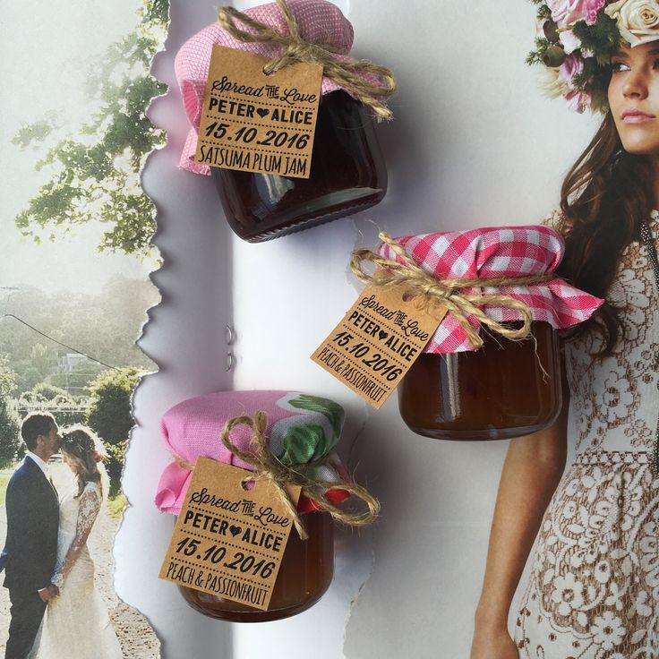 Made by www.sweettillyflint.com  Wedding Favours / Mini Jam / Jam Jars / Bonbonniere / Wedding Table / Wedding Reception / Vintage Wedding / Boho Wedding