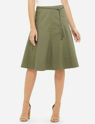 Limited Belted High Waist Midi Skirt