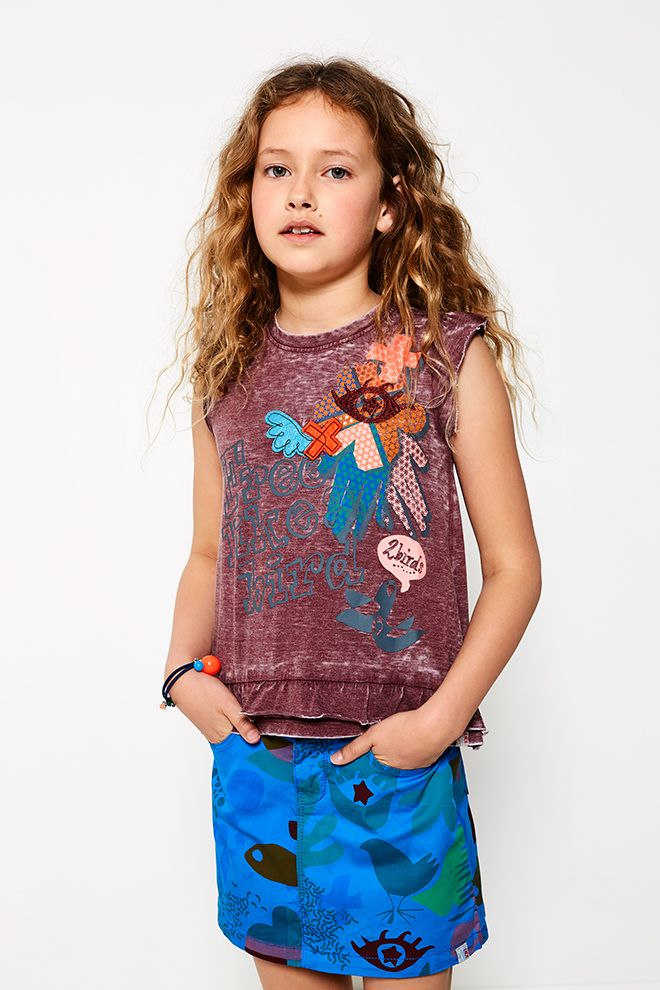 High Summer - Girls   Bird Print   Summer Collection   Photography   Inspired   Top   Red   Blue short   Tropical   Fashion