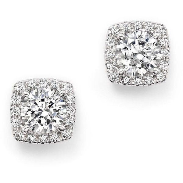 Certified Diamond Halo Stud Earrings In 14k White Gold 1 70 Ct T W 13 530 Liked On Polyvore Featuring Jewelry Accessorie