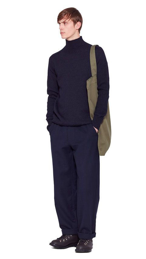AUTUMN WINTER 2016 COLLECTION -   NAVY BRITISH WOOL MHL SADDLE SLEEVE ROLL NECK,  DARK NAVY WOOL COTTON DRILL MHL PATCH POCKET TROUSER,  DARK BROWN HEAVY LEATHER MHL HIKING BOOT,  OLIVE LIGHT COTTON DRILL MHL LOGO BAG