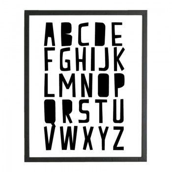 poster alfabet zwart wit