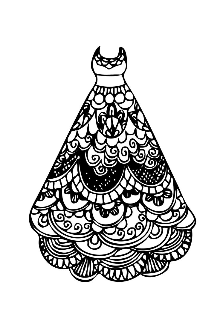 Dress lace coloring page for girls printable free for Dress coloring pages for girls
