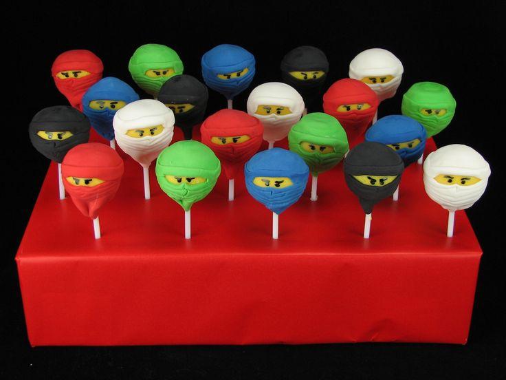 20 Ninjago man cake pops to go with Harrison's cake.