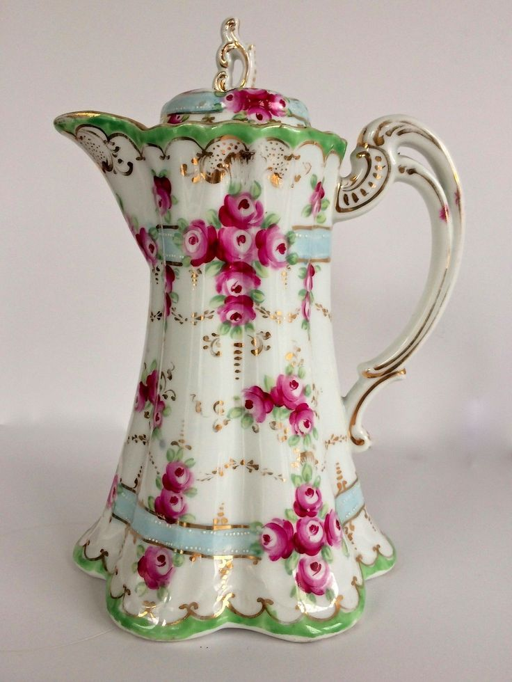 Nippon Antique Chocolate Pot Pink Roses Blue Ribbons Gold