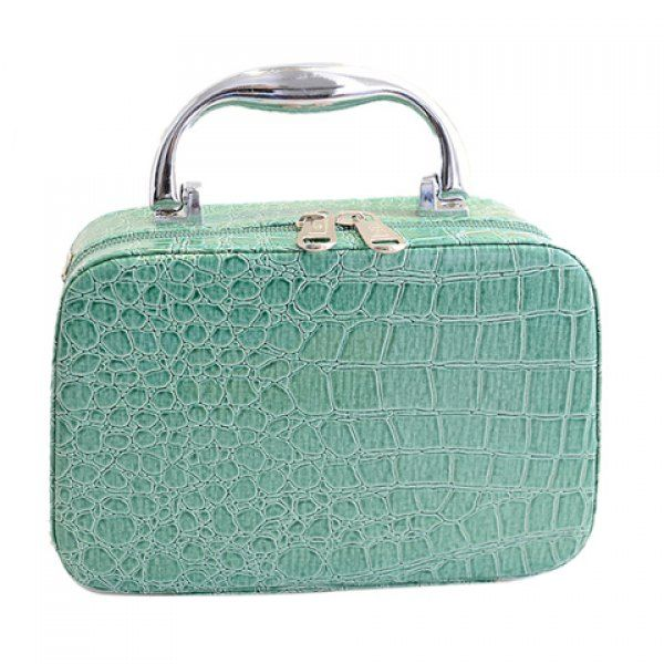 Stylish Crocodile Print and Solid Color Design Cosmetic Bag For Women, BLUE in Cosmetic Bags   DressLily.com