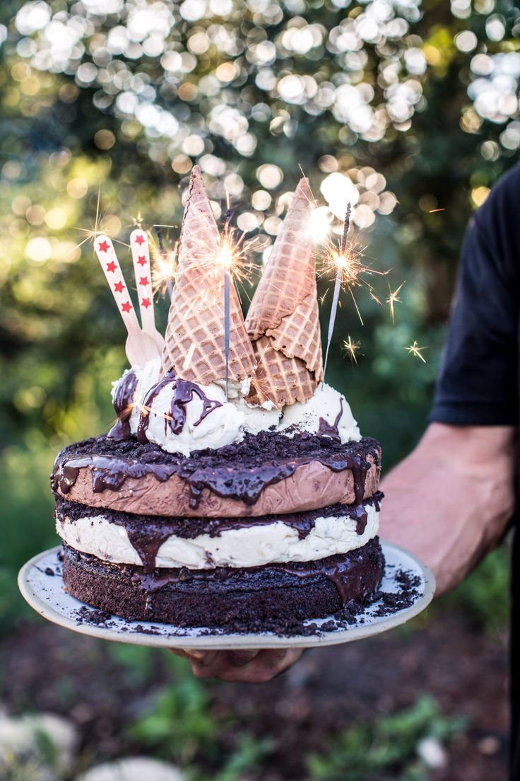 Triple Layer Chocolate Fudge Ice Cream Cake - super easy, super delicious, perfect for the 4th, this cake is sure to please all! From halfbakedharvest.com