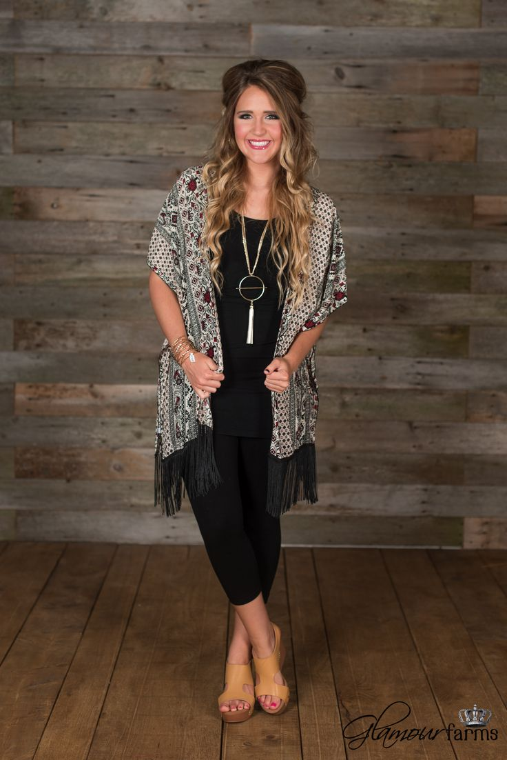 The Fantasia Kimono is right on trend. Typical easy fit kimono style with fringe at hem. Pair with a tee and denim.