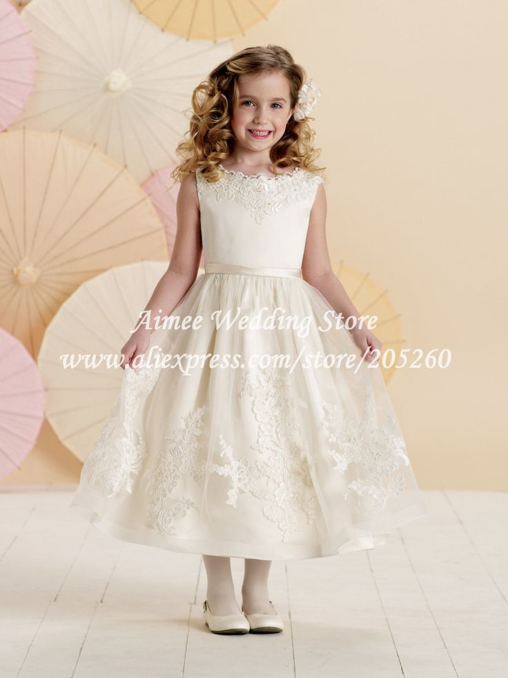 Vintage white ivory lace flower girl communion dress 2014 KF213 US $65.98