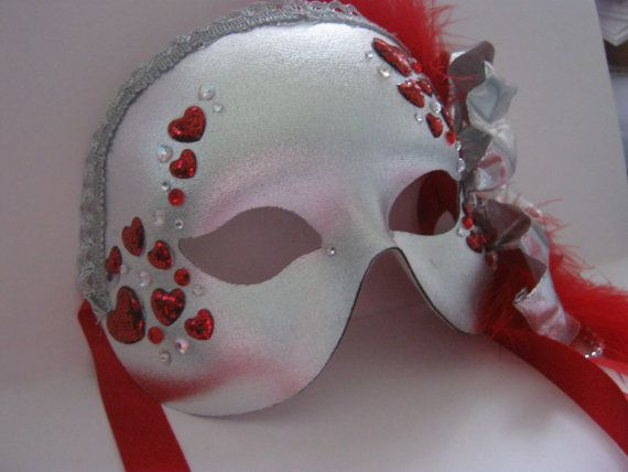 Silver and red mask Masquerade fancy dress by MasksbyDebbsElliman