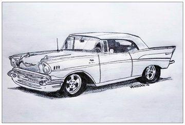 Vintage 1957 CHEVY Bel Air Realism Graphite by MySalvagedPast