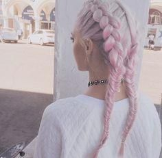 pink hair in dutch braids at top, fishtails at bottom