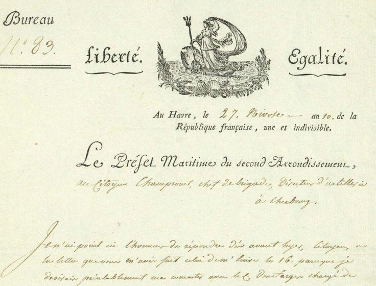 """""""(...)la partie de mon arrondissement qui prend depuis Arromanches jusqu'à Honfleur (...)qui designera un officier militaire pour le travail a faire sur les batteries depuis Grandville jusqu'à Arromanches..."""" BOURDON DE VATRY, Marc Antoine (1761-1828) - Ministre - Le Havre 1802"""