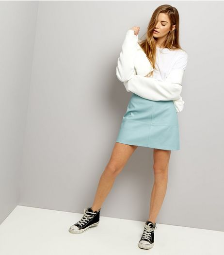 Mint Green Leather-Look Mini Skirt  | New Look