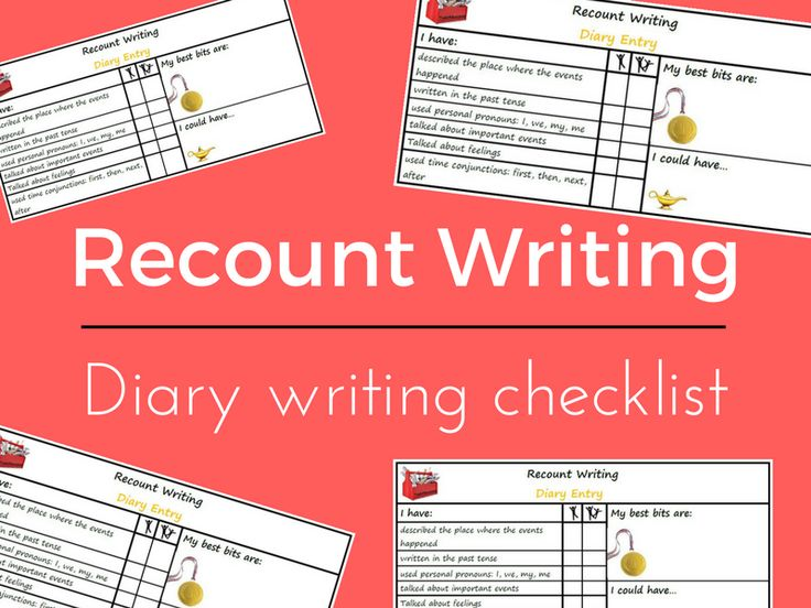 Recount Writing - Dairy: Tools for Success Criteria & self/peer assessment Year 1/2 Checklist (B)