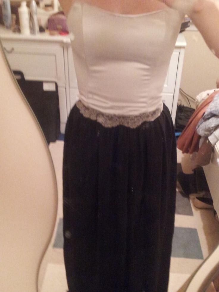 Evening dress with antique lace trim