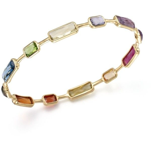 Ippolita 18K Gold Rock Candy 12 Stone Bangle in Fall Rainbow (75,420 MXN) ❤ liked on Polyvore featuring jewelry, bracelets, 18k bangle, gold bangles jewelry, gold bracelet bangle, hinged bracelet and gold bangle bracelet