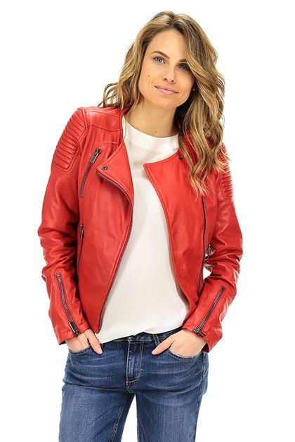 Vintage De Luxe - Giacche - Abbigliamento - Giacca in pelle con zip di chiusura e doppio petto. tasche alterali con chiusura a zip.La nostra modella indossa la taglia /EU 40. - ROSSO - € 348.36