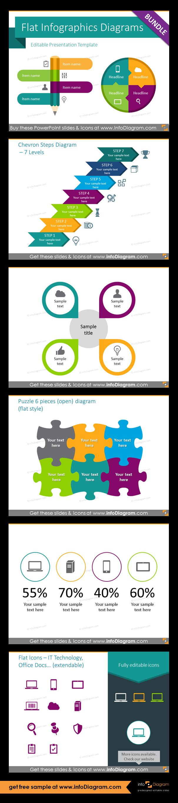 Infographics PowerPoint templates with modern flat design editable diagrams and vector icons. Chevron 7-level steps diagram, central list template for 4 items, open 6-pieces puzzle diagram, KPI presenting example, index of IT and documents images. Fully editable style, size and colors.