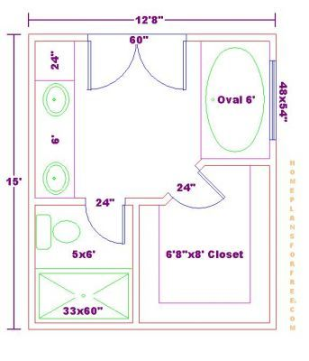 Free master bath floor plan with 12x15 dimensionsmaster for Walk in shower plans and specs