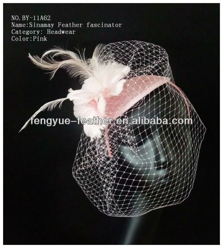 BY-11A62-Bridal Birdcage Netting Veil with sinamay feather fascinator