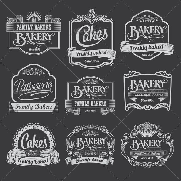Chalkboard Bakery Vector Banner and Label #GraphicRiver Chalkboard Bakery Bann