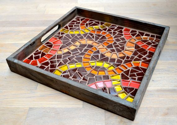 Glass mirror mosaic brown serving tray via Etsy