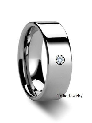 Mens 950 Platinum Wedding Band Ring with Diamond  by TallieJewelry, $1899.99