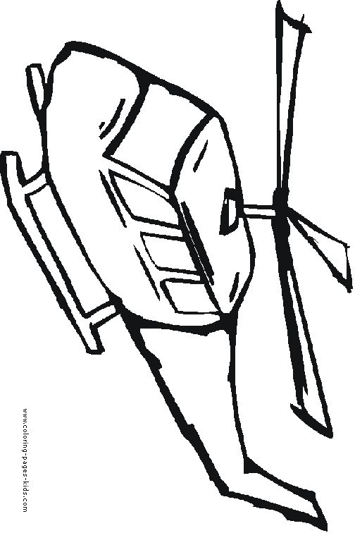 Cute Small Helicopter Coloring Page For Preschoolers