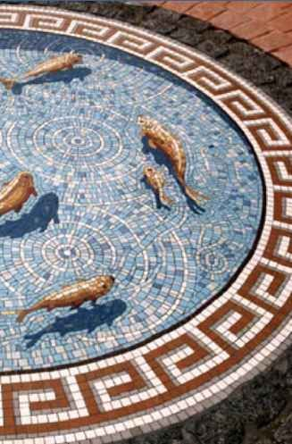 Fishpond mosaic, I like the dimension & shadow work mosaicmakers.co.uk