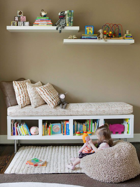 storage for kids: long bookcase with legs and cushion makes a great reading bench...