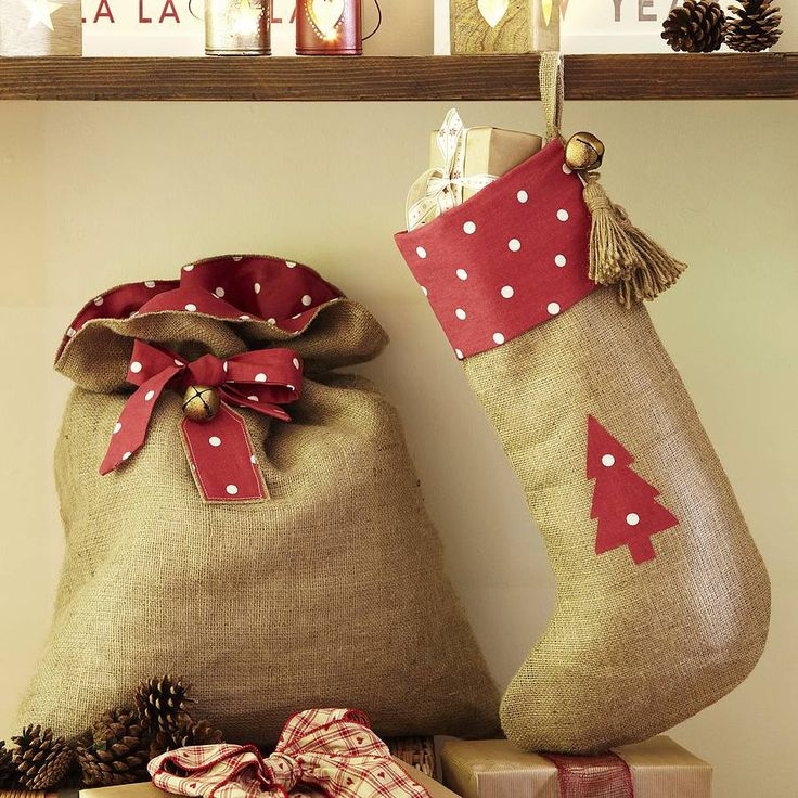 Burlap & Polka Dot Santa Sack and Stocking