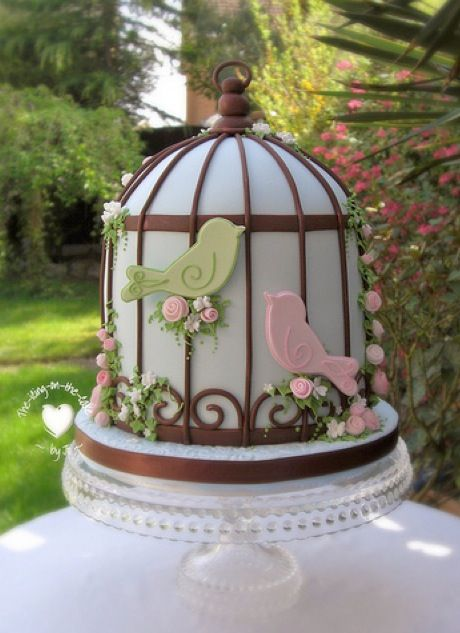 Unique Cake Decorations - bird cage with pastel birds and small flowers - pink, brown, blue and green