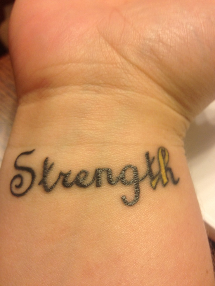 Strength, yellow ribbon for Suicide Awareness/Prevention!
