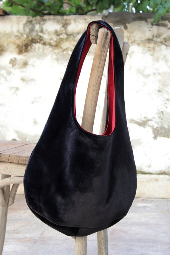 Black silk velvet bag by originalboutique on Etsy, $48.00