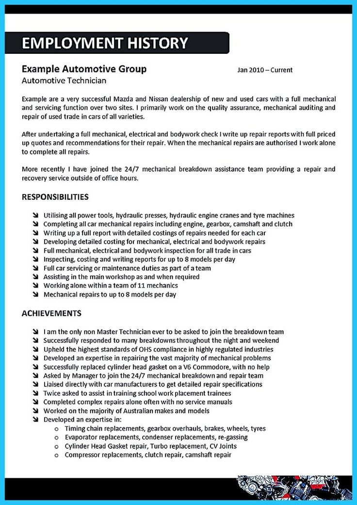 10 best job images on Pinterest For women, Free resume and - auto mechanic resume template