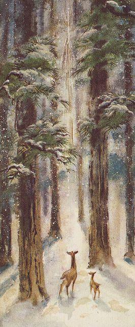 Vintage Hallmark Slim Jims Christmas Card Deer in Forest by hmdavid, via Flickr