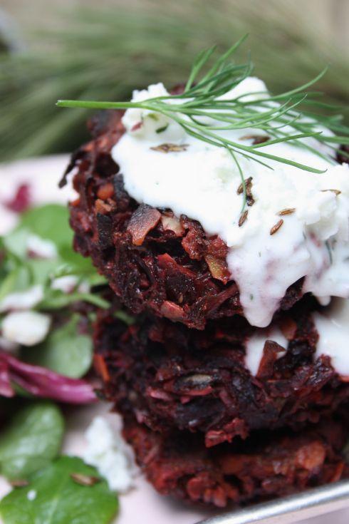 Scandinavian Beetroot Fritters with Horseradish Dill Yoghurt Sauce