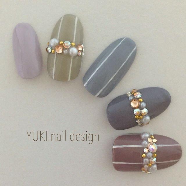 シャークスキンの秋ネイルストライプ(YUKI.nail.design)ー秋ネイル