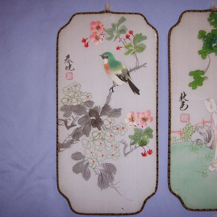 1000 Ideas About Bird Wall Art On Pinterest: Six Vintage Japanese Silk Screen Panels Hand-Painted