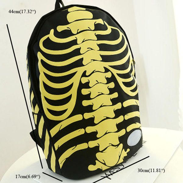 Men Women Skeleton Pattern School Bag Skeleton - US$33.21
